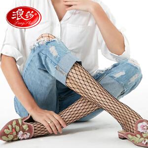 浪莎渔网袜连裤袜女夏季超薄黑色防勾丝性感网格丝袜连体情趣自慰潮韩国鱼网袜