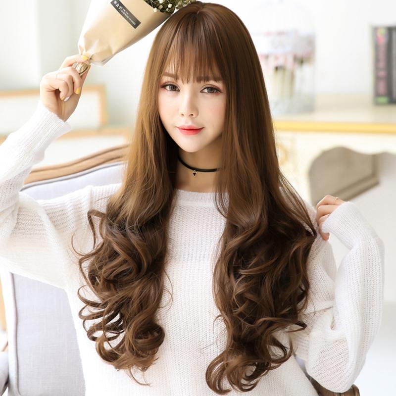 小苏妞假发 韩国假发头套女长卷发空气刘海薄长发中分蓬松假发长发女