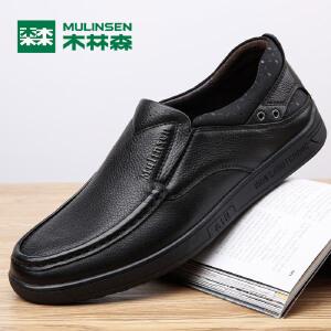 木林森男鞋 男士商务休闲鞋圆头套脚皮鞋2017秋季新款爸爸鞋黑色皮鞋77053303