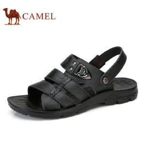 camel骆驼男鞋 2017夏季新品 男凉鞋沙滩鞋 透气牛皮露趾男士凉鞋