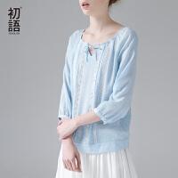 初语2017夏装新款衬衫女套头圆领拼接衬衣七分袖上衣潮