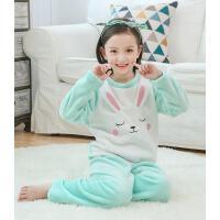 女孩宝宝家居服可爱兔套装珊瑚绒儿童睡衣法兰绒长袖