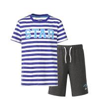 【618大促】鸿星尔克(ERKE)男童装套装儿童运动套装 短袖圆领字母T恤 松紧带短裤五分裤
