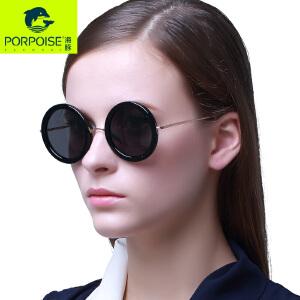 海豚太阳镜 文艺复古圆框墨镜太子镜 时尚男女圆形板材偏光太阳镜