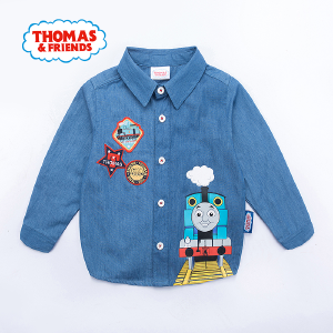 【券后150-70】托马斯童装男童秋装全棉时尚牛仔衬衫卡通上衣托马斯和朋友