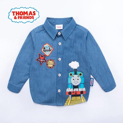 托马斯童装正版授权男童春新品全棉牛仔衬衫卡通上衣托马斯和朋友