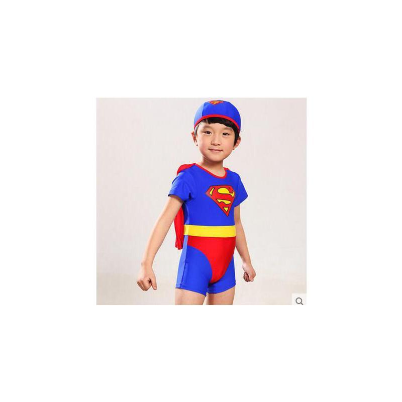 可爱超人男童连体游泳衣男孩儿童温泉泳衣披风泳帽套装