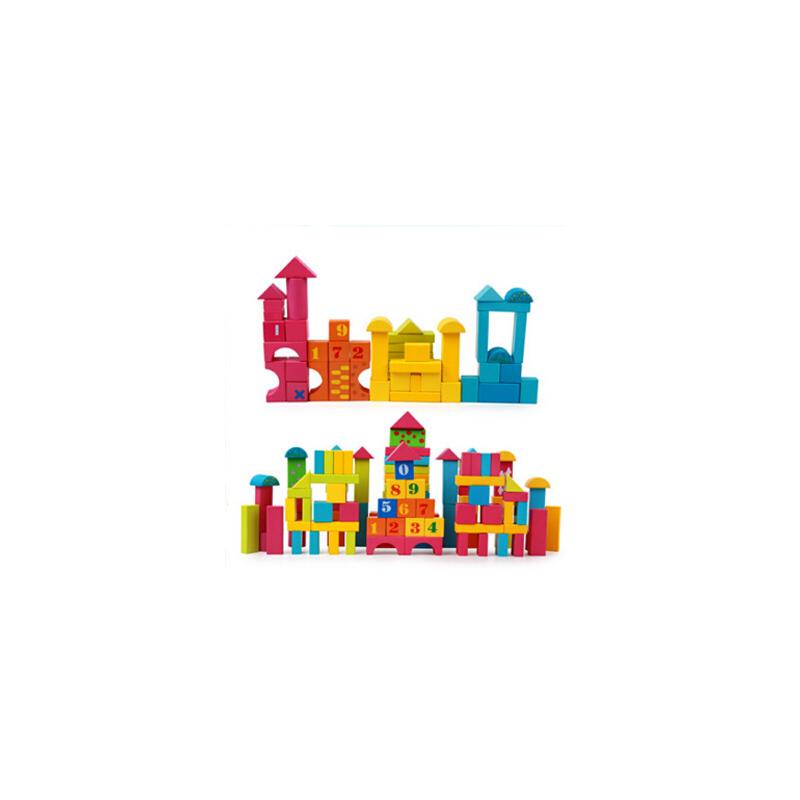 儿童益智木制大块宝宝积木玩具100粒袋装数字拼搭