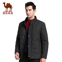 骆驼男装 冬季新款时尚休闲居家条纹立领男士青年棉服外套男