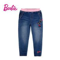 Barbie芭比女童装春季新款牛仔裤松紧腰荷叶边口袋中童裤子