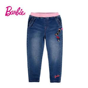 【券后150-70】芭比童装女童秋装牛仔裤松紧腰荷叶边口袋中童裤子长裤