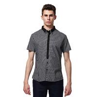 JACK WALK杰克沃克 男士黑白格双层领领带款衬衫 K0112059
