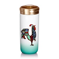 乾唐轩活瓷杯金鸡报喜随身杯双层350ml 鸡年新年礼品创意便携水杯