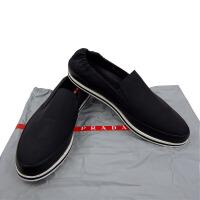 Prada黑色布面皮边男士一脚蹬 4D2801