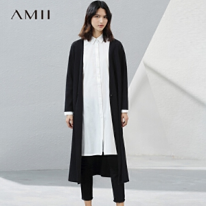 【预售】Amii2017春新女大码通勤休闲V领单扣毛针织衫11781270