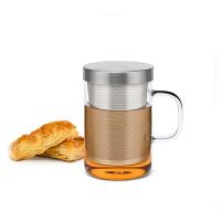 尚明耐热玻璃杯茶杯过滤花茶杯 男女士玻璃水杯子带盖泡茶杯家用S050
