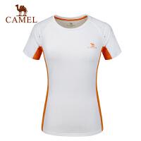camel旅游户外T恤 春夏女款透气快干圆领短袖T恤上衣