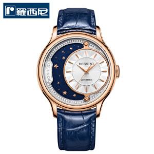 【17年新品】罗西尼(ROSSINI)手表 雅尊商务系列日月蓝色皮带自动机械情侣表