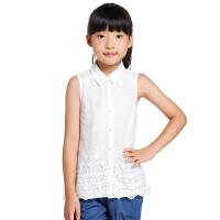 巴拉巴拉童装夏季女童网纱无袖衬衫女中童衬衣