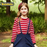 巴拉巴拉童装女童毛衣中大童毛衫儿童秋装2017新款纯棉针织套头