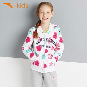 安踏童装 女童针织连帽运动上衣儿童新款正品时尚外套36618718