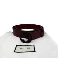 Gucci 黑色双G扣以红色腰带368186 红色宽3.5cm