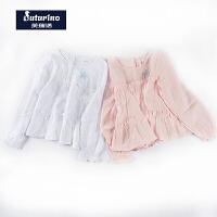 芙瑞诺童装春季新款女童精致刺绣清新海洋风棉麻长袖衬衫