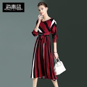 海青蓝2017春季新款时尚条纹七分袖收腰欧美气质中长裙连衣裙6558