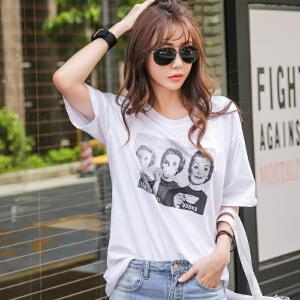 2017韩版时尚女装春夏新款印花奥代尔棉宽松短袖T恤BB17235