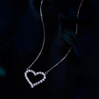 茵曼 925银项链女锁骨链女款 韩版气质心形吊坠饰品 送女友生日礼物 浅玫红色 12192
