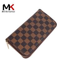 莫尔克(MERKEL)新款时尚印花格子长款拉链女钱包情侣手机钱包时尚手拿包夹包