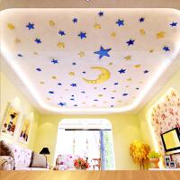 星星月亮儿童房天花板镜面3D亚克力立体墙贴创意卡通温馨墙壁饰品