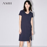 Amii[极简主义]2017夏新品气质圆领流苏连衣裙 11762113