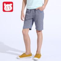 小猪班纳童装男童牛仔裤2017夏装新款儿童休闲五分裤中大童短裤子