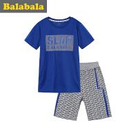 巴拉巴拉童装儿童短袖套装男夏中大童2017新款衣服男童短袖两件套潮