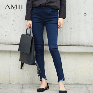 Amii[极简主义]2017春装新品摇滚范磨边显瘦牛仔裤11760724