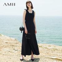 Amii[极简主义] 2017夏装修身腰带开衩无袖两件套连衣裙11792607