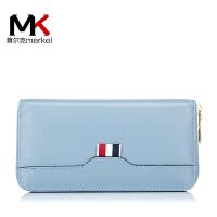 莫尔克(MERKEL)2017新款韩版女士真皮手拿包头层牛皮长款多卡位手机拉链钱包