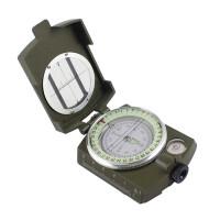 OUJIN美式指南针 全金属折叠式带夜光指北针 户外多功能指南针罗盘 军用指南针 军绿色