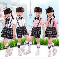 中小学生男女合唱服 幼儿园舞蹈服宝宝背带裤套装六一儿童节演出服 儿童演出服校表演服