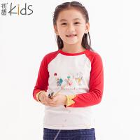 初语童装 年冬装新款 女童T恤 长袖可爱棉质休闲打底衫 T5301110092