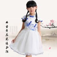童装 女童短袖连衣裙儿童民族风公主裙青花瓷旗袍式礼服裙