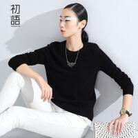 初语冬季新品 纯色显瘦圆领套头羊绒衫毛衣女 8540423070