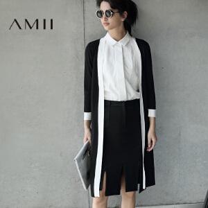 【AMII超级大牌日】[极简主义]2017年春新V领百搭撞色针织全开襟中长毛针织衫女