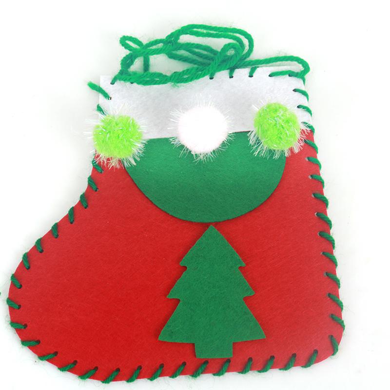 袜子装饰品圣诞节袜子幼儿园手工制作橱窗装饰袜子_圣诞袜材料包 松树