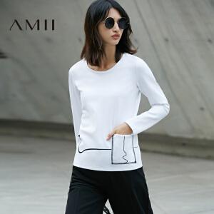 【预售】Amii2017春女涂鸦线印花口袋套头大码长袖T恤11770198