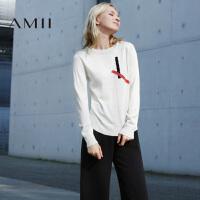 【AMII超级大牌日】[极简主义]2016秋冬圆领套头撞色针织修身长袖女毛衣11682199