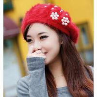 韩版贝雷帽秋冬季帽子长绒毛绒绒的 潮可爱毛线帽兔毛针织女士冬天