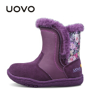 UOVO 2017新款秋冬保暖儿童雪地靴 女小女童保暖棉靴子 欧菲儿