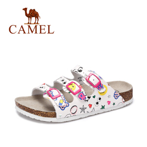 Camel/骆驼女鞋 2017夏季新款 休闲沙滩女拖鞋 多彩童趣耐磨拖鞋